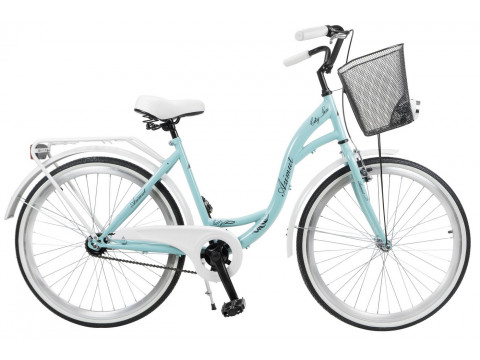 """Velosipēds AZIMUT City Lux 26"""" 2019 with basket turquoise-white"""