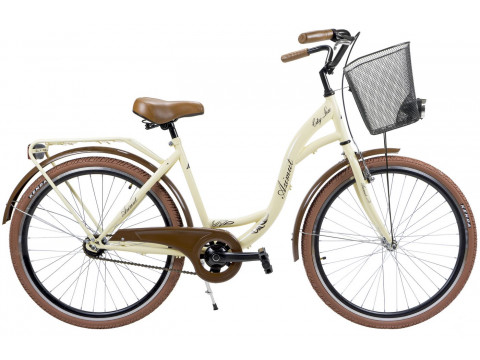 """Velosipēds AZIMUT City Lux 26"""" 2019 with basket cream-brown"""