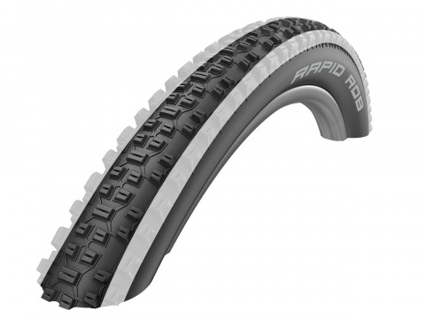 """Riepa 26"""" Schwalbe Rapid Rob HS 425, Active Wired 57-559 White Stripes"""