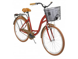 """Velosipēds AZIMUT City Lux 26"""" 2021 with basket bordo-brown"""