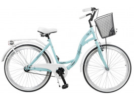 "Velosipēds AZIMUT City Lux 26"" 2019 with basket turquoise-white"