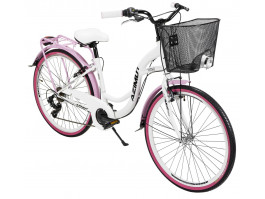 "Velosipēds AZIMUT Vintage TX 26"" 6-speed 2020 with basket white-pink"