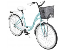 """Velosipēds AZIMUT City Lux 26"""" 2020 with basket turquoise-white"""