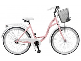 "Velosipēds AZIMUT City Lux 26"" 2019 with basket pink-white"