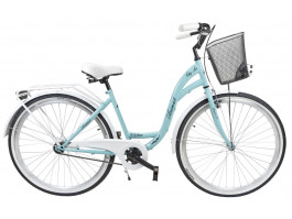 """Velosipēds AZIMUT City Lux 28"""" 2019 with basket turquoise-white"""