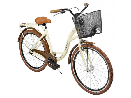 "Velosipēds AZIMUT City Lux 26"" 2020 with basket cream-brown"