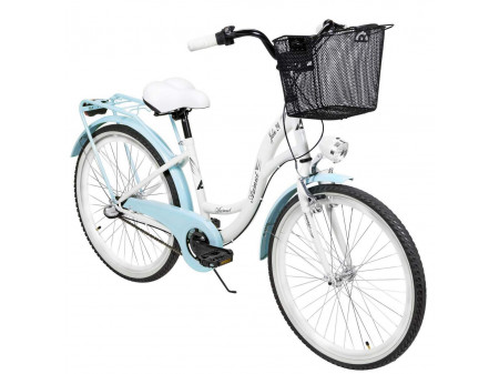 "Velosipēds AZIMUT Julie 24"" 3-speed 2021 with basket white-turquoise"