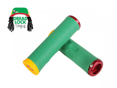 Stūres rokturi ODI Dread Lock Tinker Juarez Signature A.I.R.E. 130mm Lock-On Rasta