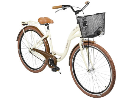 "Velosipēds AZIMUT City Lux 28"" 2020 with basket cream-brown"