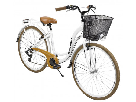 "Velosipēds AZIMUT Vintage TX 28"" 6-speed 2020 with basket white-brown"