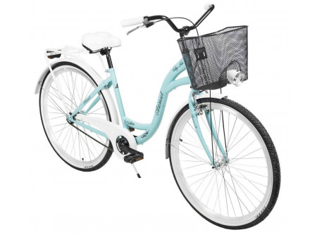 "Velosipēds AZIMUT City Lux 28"" 2020 with basket turquoise-white"