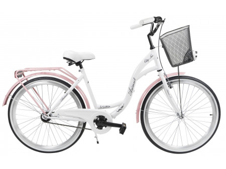 "Velosipēds AZIMUT City Lux 26"" 2019 with basket white-pink"