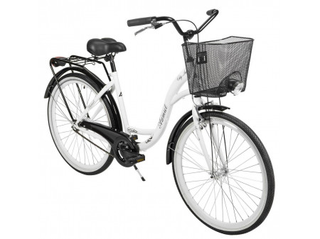 "Velosipēds AZIMUT City Lux 26"" 2020 with basket white-black"