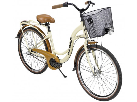 "Velosipēds AZIMUT Vintage 26"" Nexus-3 2020 with basket cream-brown"