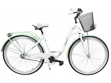 "Velosipēds AZIMUT City Lux 28"" 2019 with basket white-mint"