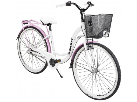 "Velosipēds AZIMUT Vintage 28"" Nexus-3 2020 with basket white-pink"