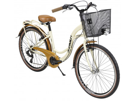 "Velosipēds AZIMUT Vintage TX 26"" 6-speed 2020 with basket cream-brown"