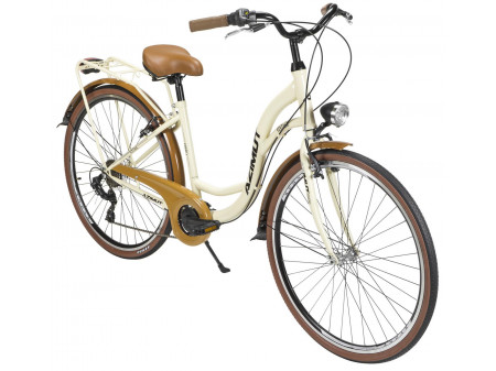 "Velosipēds AZIMUT Vintage TX 28"" 6-speed 2020 cream-brown"