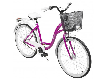 "Velosipēds AZIMUT City Lux 26"" 2020 with basket violet-white"