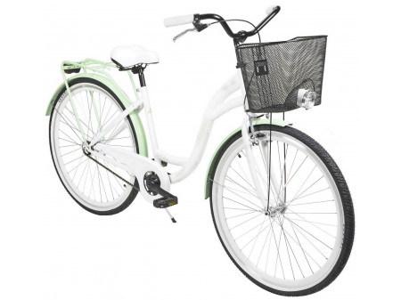 "Velosipēds AZIMUT City Lux 28"" 2020 with basket white-mint"