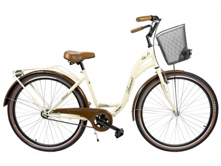 "Velosipēds AZIMUT City Lux 28"" 2019 with basket cream-brown"