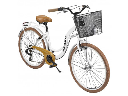 "Velosipēds AZIMUT Vintage TX 26"" 6-speed 2020 with basket white-brown"