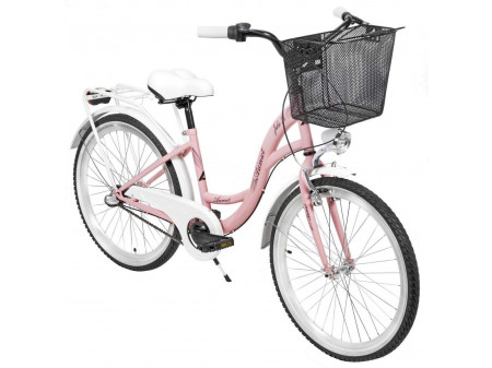 "Velosipēds AZIMUT Julie 24"" 3-speed 2021 with basket pink-white"