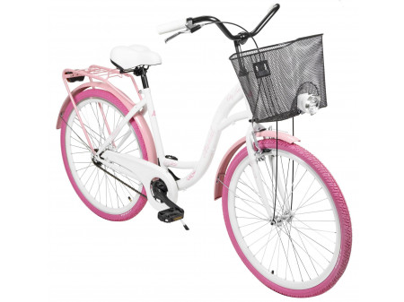 "Velosipēds AZIMUT City Lux 26"" 2020 with basket white-pink"