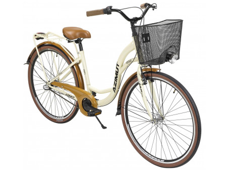 "Velosipēds AZIMUT Vintage 28"" Nexus-3 2020 with basket cream-brown"