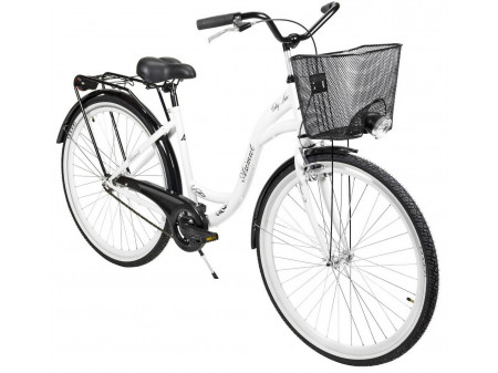 "Velosipēds AZIMUT City Lux 28"" 2020 with basket white-black"