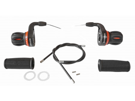 Pārslēdzēju roktura Saiguan Shift Red friction 3x7 adjust. with grips (pair)