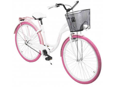 "Velosipēds AZIMUT City Lux 28"" 2020 with basket white-pink"