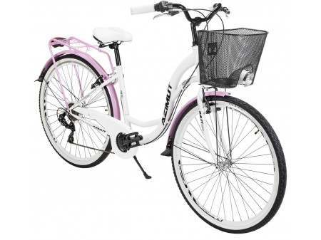 "Velosipēds AZIMUT Vintage TX 28"" 6-speed 2020 with basket white-pink"
