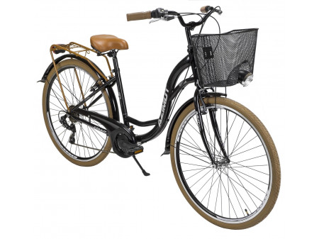 "Velosipēds AZIMUT Vintage TX 28"" 6-speed 2020 with basket black-brown"